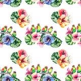 Όμορφο φωτεινό καλό ζωηρόχρωμο τροπικό floral βοτανικό θερινό σχέδιο της Χαβάης τροπικά hibiscus λουλουδιών, φύλλα φοινικών και l Στοκ Φωτογραφία