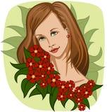 Όμορφο χαμογελώντας κορίτσι με τη γιρλάντα των εξωτικών κόκκινων λουλουδιών και των πράσινων φύλλων διανυσματική απεικόνιση