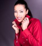 Όμορφο χαμόγελο brunette Στοκ εικόνες με δικαίωμα ελεύθερης χρήσης