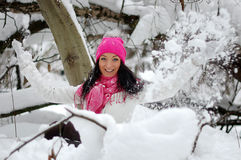 όμορφο χαμόγελο κοριτσιών Παγετός, χειμώνας Στοκ Εικόνα
