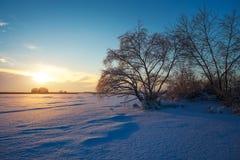 Όμορφο χειμερινό τοπίο με την παγωμένα λίμνη, τα δέντρα και το ηλιοβασίλεμα Στοκ φωτογραφία με δικαίωμα ελεύθερης χρήσης