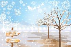 Όμορφο χειμερινό τοπίο των άσπρων Χριστουγέννων - διανυσματικό eps10 διανυσματική απεικόνιση
