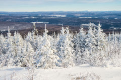 Όμορφο χιονώδες τοπίο στο Κεμπέκ, Καναδάς στοκ εικόνες