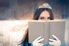 Όμορφο χιόνι βασίλισσα Reading ένα βιβλίο Στοκ εικόνα με δικαίωμα ελεύθερης χρήσης