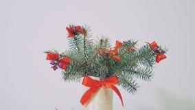 Όμορφο χριστουγεννιάτικο δέντρο, παραδοσιακές διακοσμήσεις απόθεμα βίντεο