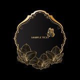 Όμορφο χρυσό εκλεκτής ποιότητας floral πλαίσιο με τα amaryllis και την πεταλούδα λουλουδιών Στοκ Φωτογραφία