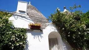 Όμορφο χωριό Alberobello με τα σπίτια trulli μεταξύ των πράσινων εγκαταστάσεων και των λουλουδιών, κύρια τουριστική περιοχή, περι Στοκ φωτογραφία με δικαίωμα ελεύθερης χρήσης