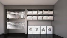 Όμορφο δωμάτιο πλυντηρίων/τρισδιάστατη απόδοση Στοκ Εικόνες