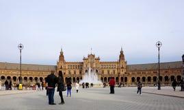 Όμορφο architechture Plaza de España του κτηρίου με το νερό Στοκ φωτογραφία με δικαίωμα ελεύθερης χρήσης