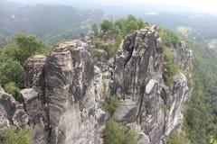 Όμορφο Bastei, σχηματισμός βράχου στη Γερμανία Στοκ Εικόνες