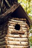 Όμορφο birdhouse από την κινηματογράφηση σε πρώτο πλάνο πινάκων σημύδων Στοκ φωτογραφία με δικαίωμα ελεύθερης χρήσης