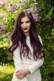 Όμορφο brunette γυναικών με μακρυμάλλη και makeup Στοκ φωτογραφία με δικαίωμα ελεύθερης χρήσης