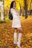 Όμορφο brunette με την τσάντα στο πάρκο φθινοπώρου Στοκ εικόνα με δικαίωμα ελεύθερης χρήσης
