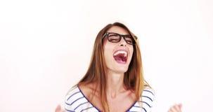 Όμορφο brunette με eyeglasses απόθεμα βίντεο