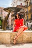 Όμορφο brunette σε ένα κόκκινο φόρεμα Στοκ εικόνες με δικαίωμα ελεύθερης χρήσης