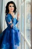 Όμορφο brunette σε ένα μπλε φόρεμα σε ένα ευρύ παράθυρο Μια γυναίκα σε ένα κομψό εσωτερικό εσωτερικό στούντιο Στοκ εικόνα με δικαίωμα ελεύθερης χρήσης