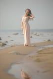 Όμορφο brunette σε χλωμό - ρόδινο μακρύ φόρεμα Στοκ Εικόνα