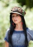 όμορφο brunette υπαίθριο Στοκ Εικόνα