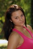 όμορφο brunette 3 headshot υπαίθριο Στοκ Εικόνες