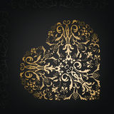 όμορφο floral διάνυσμα απεικόνισης καρδιών κόκκινος τρύγος ύφους κρίνων απεικόνισης Στοκ Εικόνες