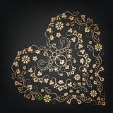 όμορφο floral διάνυσμα απεικόνισης καρδιών κόκκινος τρύγος ύφους κρίνων απεικόνισης Στοκ Φωτογραφία