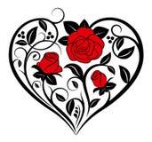 όμορφο floral διάνυσμα απεικόνισης καρδιών Στοκ φωτογραφία με δικαίωμα ελεύθερης χρήσης