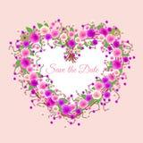όμορφο floral διάνυσμα απεικόνισης καρδιών Στοκ φωτογραφίες με δικαίωμα ελεύθερης χρήσης