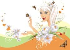 όμορφο floral κορίτσι Στοκ Εικόνες