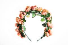 Όμορφο floral πλαίσιο στο κεφάλι που απομονώνεται Στοκ Φωτογραφίες