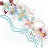 Όμορφο floral σχέδιο απεικόνισης με τα μπλε τυποποιημένα λουλούδια Στοκ φωτογραφία με δικαίωμα ελεύθερης χρήσης