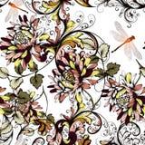 Όμορφο floral υπόβαθρο με τη ζωηρόχρωμες διακόσμηση και τη λιβελλούλη Στοκ φωτογραφία με δικαίωμα ελεύθερης χρήσης