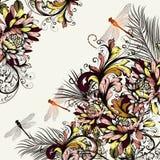 Όμορφο floral υπόβαθρο με τη ζωηρόχρωμες διακόσμηση και τη λιβελλούλη Στοκ Εικόνες