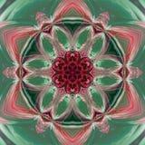 Όμορφο fractal λουλούδι στο κιρκίρι, πράσινος και ρόδινος, κάρτα για την άνοιξη ή ημέρα αξόνων Στοκ εικόνα με δικαίωμα ελεύθερης χρήσης
