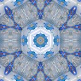 Όμορφο fractal λουλούδι στο μπλε ουρανό και άσπρος, κεραμικό κεραμίδι επίδρασης Στοκ Εικόνα