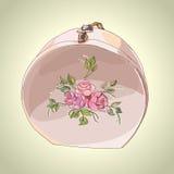 Όμορφο hatbox με τη διακόσμηση λουλουδιών Απεικόνιση αποθεμάτων