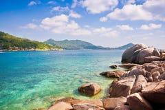 Όμορφο koh νησιών παραδείσου τροπικό tao Ταϊλάνδη στο όμορφο seascape φύσης υπόβαθρο στο όμορφο seascape φύσης backgrou στοκ εικόνες με δικαίωμα ελεύθερης χρήσης