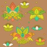 Όμορφο Lotus: Διανυσματική γιόγκα διακοσμήσεων Συρμένο χέρι στοιχείο Εικόνα για το σχέδιο Στοκ Εικόνες