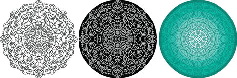 Όμορφο mandala για το χρωματισμό του βιβλίου Μαύρος, άσπρος, χρώμα γύρω από το σχέδιο Στοκ φωτογραφία με δικαίωμα ελεύθερης χρήσης