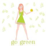 Όμορφο redhead κορίτσι κινούμενων σχεδίων με ένα μήλο Στοκ Εικόνες