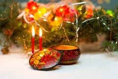 Όμορφο rospisannaya κασετινών στο ρωσικό εθνικό ύφος - Khokhloma Στοκ εικόνες με δικαίωμα ελεύθερης χρήσης