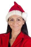 όμορφο santa καπέλων κοριτσιών  Στοκ φωτογραφίες με δικαίωμα ελεύθερης χρήσης