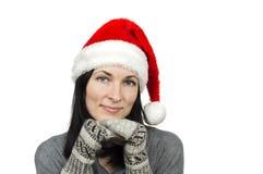 όμορφο santa καπέλων που φορά τ&e στοκ φωτογραφίες