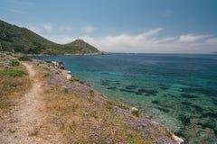 Όμορφο seascape από την ακτή της αρχαίας πόλης Knidos Τουρκία στοκ εικόνα