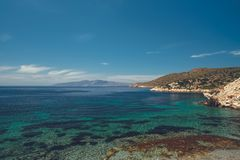 Όμορφο seascape από την ακτή της αρχαίας πόλης Knidos στοκ εικόνες