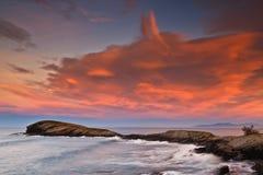 όμορφο seascape ηλιοβασίλεμα Στοκ εικόνα με δικαίωμα ελεύθερης χρήσης