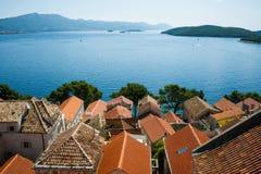 Όμορφο seascape της Κροατίας Ταξίδι, ιστιοπλοϊκό, διακοπές con Στοκ Φωτογραφία