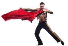 Όμορφο toreador στο μαύρο κοστούμι με το κόκκινο ύφασμα Στοκ φωτογραφία με δικαίωμα ελεύθερης χρήσης