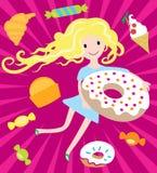 Όνειρα κοριτσιών με μεγάλο doughnut και τα νόστιμα γλυκά Στοκ Εικόνες