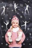Όνειρα μικρών κοριτσιών για το πατινάζ αριθμού Στοκ Εικόνα