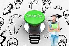 Όνειρο μεγάλο ενάντια στο ψηφιακά παραγμένο πράσινο κουμπί ώθησης Στοκ εικόνα με δικαίωμα ελεύθερης χρήσης